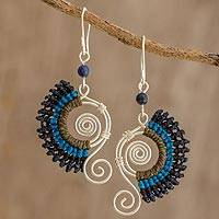 Lapis lazuli and macramé dangle earrings, 'Colorful Breeze' - Sterling Silver Earrings with Lapis Lazuli Bead and Macramé