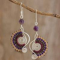 Amethyst and macramé dangle earrings, 'Colorful Melody in Purple' - Sterling Silver Earrings with Amethyst Bead and Macramé