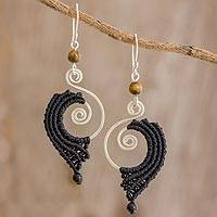 Tiger's eye and macramé dangle earrings, 'Macrame Cascade' - Black Macramé, Tiger's Eye and Sterling Silver Earrings