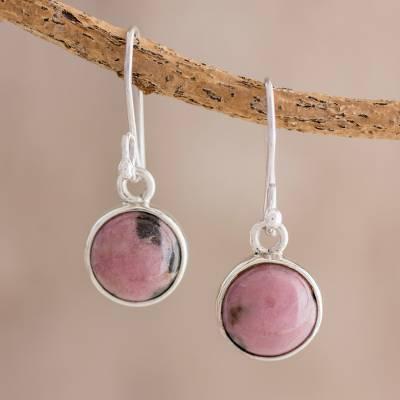 Rhodonite dangle earrings, 'Soft Elegance' - Circular Rhodonite Dangle Earrings from Guatemala