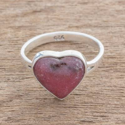 Rhodonite cocktail ring, 'Pink Heart' - Heart-Shaped Rhodonite Cocktail Ring from Guatemala
