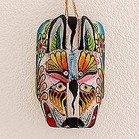 Wood mask, 'Floral Tiger' - Hand-Carved Pinewood Floral Tiger Mask from Guatemala