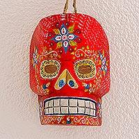 Wood mask, 'Red Day of the Dead' - Wood Day of the Dead Skull Mask in Red from Guatemala