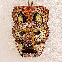 Wood mask, 'Sacred Energy' - Hand-Painted Pinewood Jaguar Mask from Guatemala