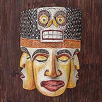 Wood mask, 'Ancestral Death' - Hand-Carved Cultural Pinewood Mask from Guatemala