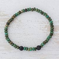 Jasper beaded stretch bracelet, 'Green Mountain' - Green Jasper Beaded Stretch Bracelet from Guatemala
