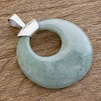 Jade pendant, 'Serene' - Circular Polished Jade Pendant with Sterling Silver Bail