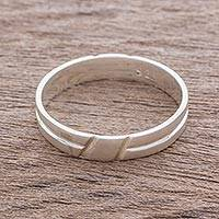 Sterling silver band ring, 'Faith in Life' - Simple Sterling Silver Band Ring Crafted in Guatemala