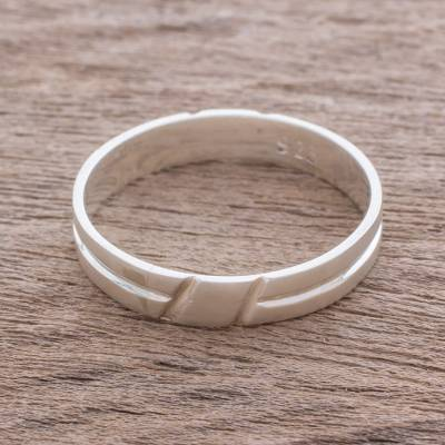 silver ring makers mark - Simple Sterling Silver Band Ring Crafted in Guatemala
