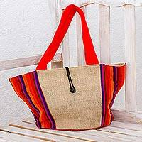 Cotton and jute tote handbag, 'Summer Festival' - Jute and Cotton Tote Handbag with Multicolor Stripe Pattern