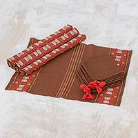 Cotton table linen set, 'Striped Paths in Chestnut' (set of 4) - Cotton Table Linen Set (4) in Chestnut from Guatemala