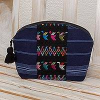 Cotton cosmetic bag, 'Tactic Stripes in Navy' - Handwoven Cotton Cosmetic Bag in Navy from Guatemala