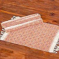 Cotton placemats, 'Woven Fields in Tangerine' (set of 4) - Eggshell Cotton Placemats with Tangerine Orange Pattern (4)