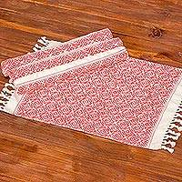 Cotton placemats, 'Woven Fields in Strawberry' (set of 4) - Eggshell Fringed Cotton Placemats with Red Pattern (4)