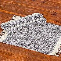 Cotton placemats, 'Woven Fields in Navy' (set of 4) - Eggshell Fringed Cotton Placemats with Navy Pattern (4)