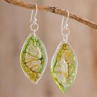 Recycled CD dangle earrings, 'Leafy Forest' - Green Recycled CD Dangle Earrings from Guatemala