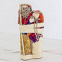 Cotton and palm nativity scene, 'Incalculable Love' - Colorful Nativity Figures of Woven Palm Leaves and Fabric