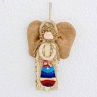 Cotton and palm wall hanging, 'Heavenly Guardian' - Cotton and Woven Palm Angel Wall Hanging