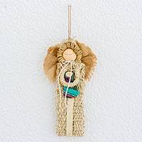 Cotton and palm wall hanging, 'Loving Arms' - Cotton and Woven Palm Angel Wall Hanging