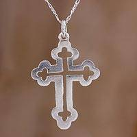 Sterling silver pendant necklace, 'Eternal Faith' - Handcrafted Sterling Silver Cross Pendant Necklace