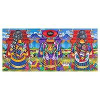 'Weavers of Atitlan' - Signed Painting of Traditional Weavers from Guatemala