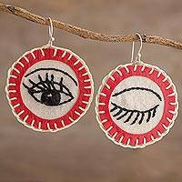Cotton dangle earrings, 'Wink in Red' - Round Cotton Hand Embroidered Winking Eye Dangle Earrings
