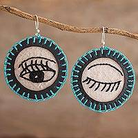 Cotton dangle earrings, 'Wink in Black' - Round Cotton Hand Embroidered Winking Eye Dangle Earrings