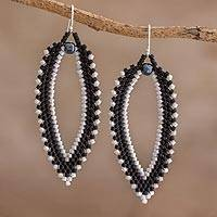 Beaded dangle earrings, 'Leaves at Nightfall' - Black and Grey Leaf-Shaped Beaded Dangle Earrings