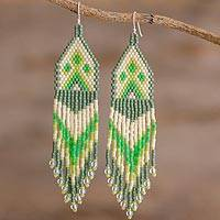 Beaded waterfall earrings, 'Peaks and Valleys in Green' - Green and Ivory Woven Bead Waterfall Earrings