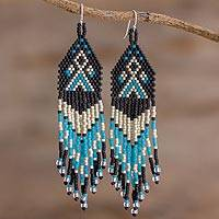 Beaded waterfall earrings, 'Peaks and Valleys in Black' - Blue and Black Boho Hand Beaded Waterfall Earrings