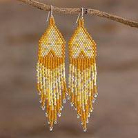 Beaded waterfall earrings, 'Peaks and Valleys in Yellow' - Shades of Yellow Woven Bead Waterfall Earrings