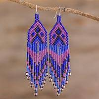 Beaded waterfall earrings, 'Peaks and Valleys in Purple' - Blue and Purple Woven Bead Waterfall Earrings