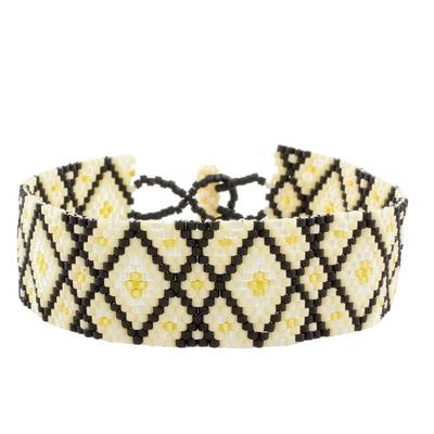 Black and Yellow Geometric Woven Bead Wristband Bracelet