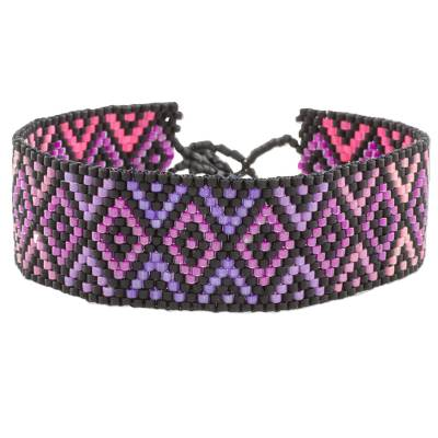 Purple and Pink Geometric Woven Bead Wristband Bracelet