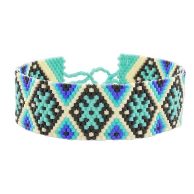 Blue and Black Geometric Beaded Wristband Bracelet