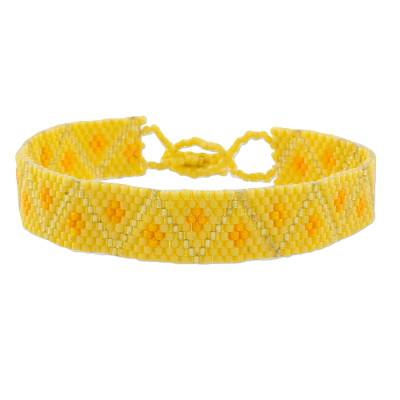 Yellow Geometric Beaded Wristband Bracelet