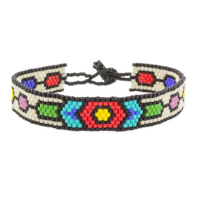 Handcrafted Multi-Color Geometric Beaded Wristband Bracelet