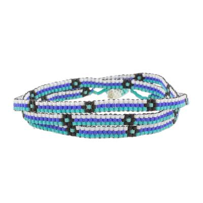 Blue and Black Flower and Stripes Beaded Wrap Bracelet