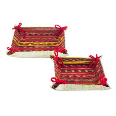 Handcrafted Guatemalan Palm Leaf Catchall Trays (Pair)