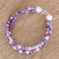 Amethyst beaded bracelet, 'Beauty of Antigua' - Amethyst and Sterling Silver Double Strand Beaded Bracelet