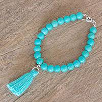 Sterling silver beaded charm bracelet, 'The Waters of Semuc Champey' - Reconstituted Turquoise Bracelet with Sterling Silver Clasp