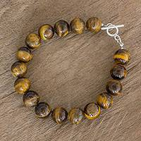 Tiger's eye beaded bracelet, 'Cat's Eye' - Tiger's Eye Beaded Bracelet with Sterling Silver Clasp