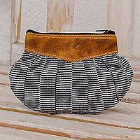 Leather accent cotton clutch, 'Modern News' - Black and White Striped Cotton Leather Accent Clutch Handbag