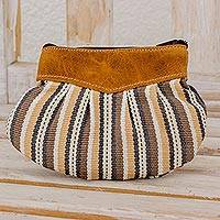 Leather-accented cotton clutch handbag, 'Modern Mocha' - Cream and Brown Striped Cotton Leather Accent Clutch Handbag