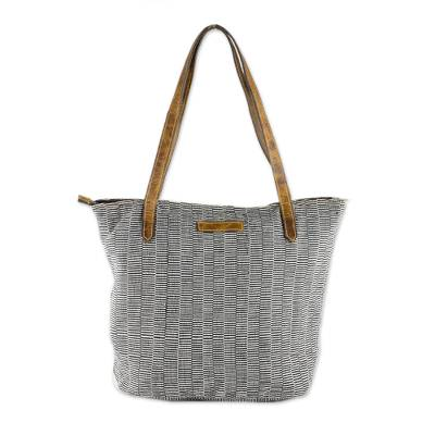 Black and White Striped Hand Woven Cotton Tote Bag