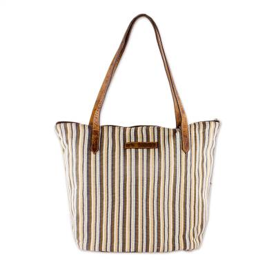 Cream and Brown Striped Hand Woven Cotton Tote Bag