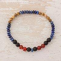 Multi-gemstone beaded stretch bracelet, 'Earth Fire and Sea' - Multi-Gemstone Beaded Stretch Bracelet from Guatemala