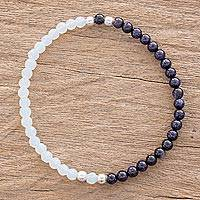 Aventurine and moonstone beaded stretch bracelet, 'Sky and Moon' - Aventurine and Moonstone Beaded Bracelet from Guatemala