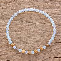 Moonstone and jasper beaded stretch bracelet, 'Kiss of the Moon' - Moonstone and Jasper Beaded Stretch Bracelet from Guatemala
