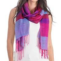 Rayon shawl, 'Rosy Afternoon' - Handwoven Purple and Fuchsia Rayon Shawl from Guatemala